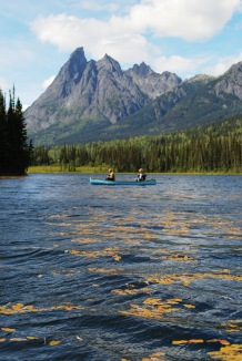 Canoeing on the Kitseguecla Lake. 10 minutes away from our Resort.